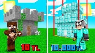 1 TL KALE VS 10.000 TL KALE! 😱 - Minecraft