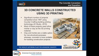Building Code Compliance – 3-D Concrete Walls Constructed Using 3-D Printing Construction Technology