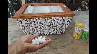 DIY Blumenkasten aus Holz mit Steinen dekoriert /Flower pot, handmade   / Taş saksı