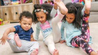 Twins Teach Baby Brother Gymnastics