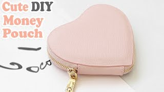 DIY HEART PURSE BAG // PU Lather Zipper Money Pouch & Credit Card Holder No Sew
