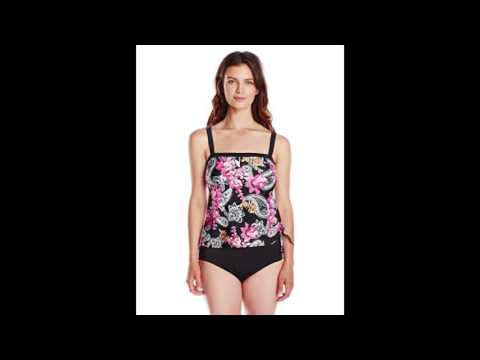 Maxine of Hollywood Womens Poppy Paisley Faux Tankini One Piece Swimsuit Pink