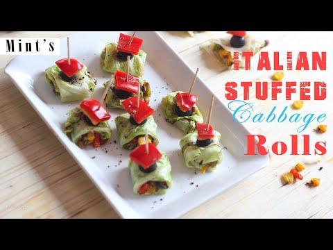 Italian Stuffed Cabbage Rolls Recipe – Evening Snacks Recipes – Vegan Indian Recipes Ep-179