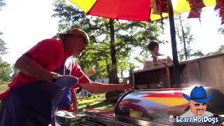 Hot Dog Vendor Working Hot Dog Cart