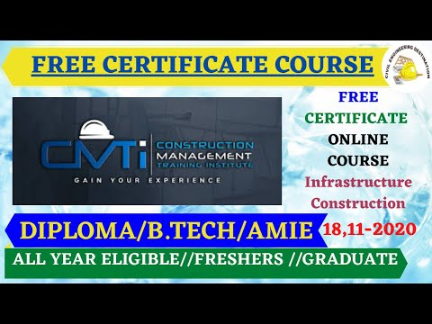 CMTI FREE CERTIFICATE COURSE CIVIL ENGINEER 2020 ...