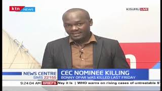 No arrest has been made on the murder of Homabay CEC nominee for Transport and infrastructure Bonny