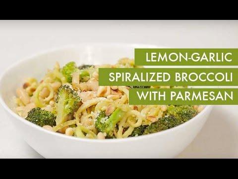 Video Lemon-Garlic Spiralized Broccoli with Parmesan I Gluten-Free +Vegetarian Spiralizer Recipe
