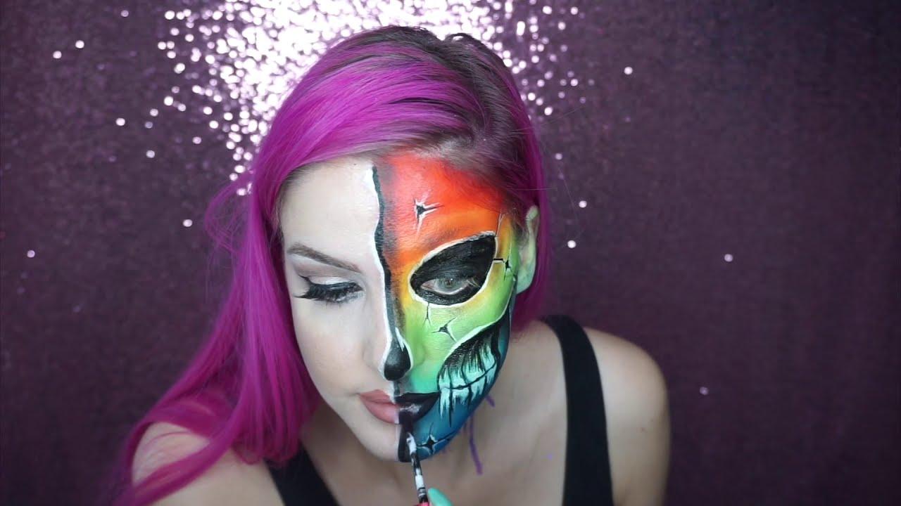 face painting rainbow skull face by emily jayne fx