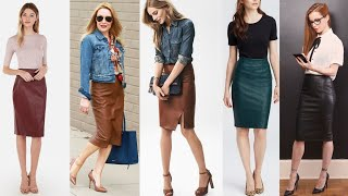 Office Wear Leather Pencil Skirts Outfits Designs Ideas For Business Womens #2020