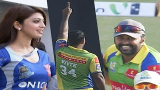 Actress Pranitha Cheer for Bangalore. Kerala Strikers Celebrates Karnataka Bulldozers Wicket Out