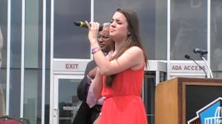 Lauren Mascitti singing the National Anthem for Pro Football HOF Ribbon Cutting w/ Joe Namath
