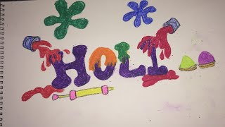 How To Draw Happy Holi Festival Easy Drawing For Kids Step By Step