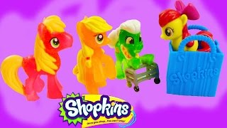 MLP Shopkins 12 Pack Mystery Surprise Blind Bag My Little Pony Toy Review Opening Apple Family