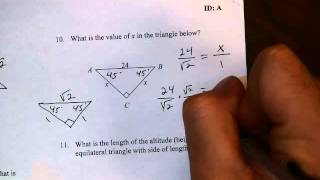 Unit 5 Review 1 Number 10 Special Right Triangles