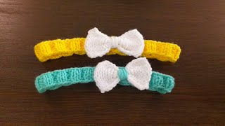 How to Knit HEADBAND with bow ( Beginner )