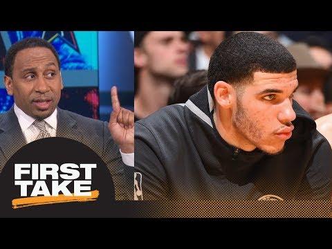 Stephen A. Smith calls Lonzo Ball saying nothing to LaVar 'weak' | First Take | ESPN