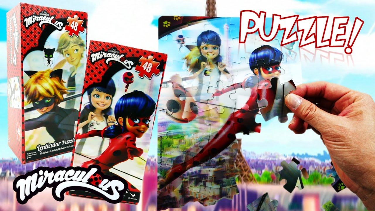 Miraculous Ladybug Toy Lenticular Puzzle with Cat Noir Unboxing and Review | Evies Toy House