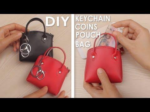 0b4944a41 DIY MINI HANDBAG KEYCHAIN & COINS POUCH TUTORIAL // Red PU Lather Cute  Zipper Bag