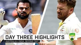 Virat Kohli hit a spell-binding century before a contentious dismissal while India's pacers made life difficult for Australia's batsmen in a gripping day of good, hard Test match cricket