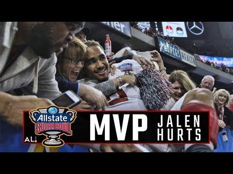 Follow Jalen Hurts as he celebrates Alabama's win over Clemson in the CFP semifinal