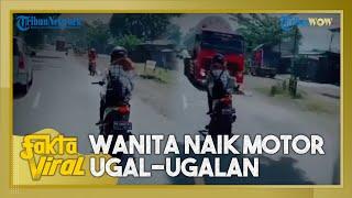 Fakta Viral: Wanita Naik Motor Ugal-ugalan Lawan Arah di Jalan Raya Purworejo, Hampir Tabrak Truk