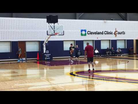 Isaiah Thomas goes through contact drills following Cleveland Cavaliers shootaround Wednesday