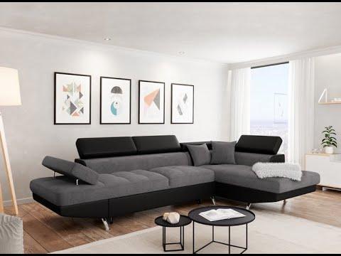 Canapé d'angle gauche convertible microfibre gris et simili blanc Mio 275 cm