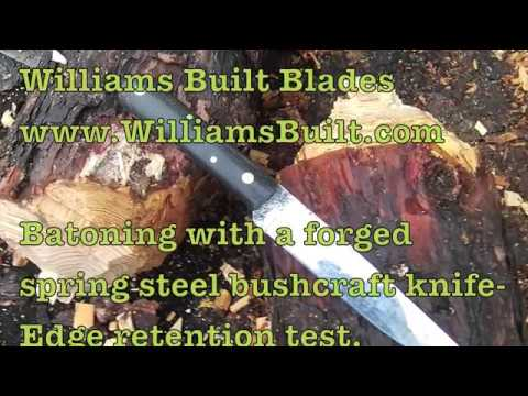 """Hand Forged Spring Steel Knife Chops Through 6"""" Log And Still Shaving Sharp"""