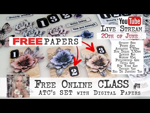 Free Online Class From Maremi - Using FREE digital papers for ATC's Set #11