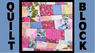 Quilt Block Party - Block 9: Scatterbrained - Crazy Quilt Block Tutorial