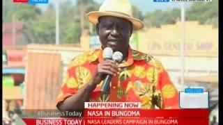 Raila Odinga addresses  to supporters in Bungoma