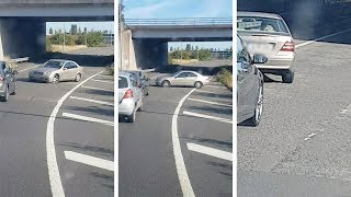 Motorist Drives Into Oncoming Traffic With Flat Tyre
