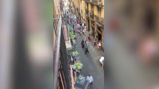 Raw: Barcelona Pedestrians Flee Near Van Attack