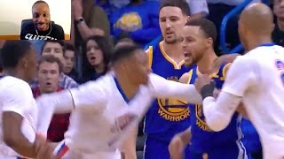 STEPHEN CURRY IS HOOD! 2 HANDED DUNK! HITS WESTBROOK IN THE FACE! TRIES TO FIGHT THUNDER TEAM!