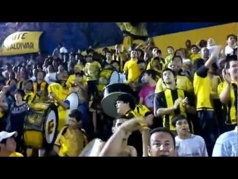 """""""LA RAZA AURINEGRA """"El que no salta se va a la B, contra los chanchos"""""""" Barra: La Raza Aurinegra • Club: Guaraní de Asunción"""
