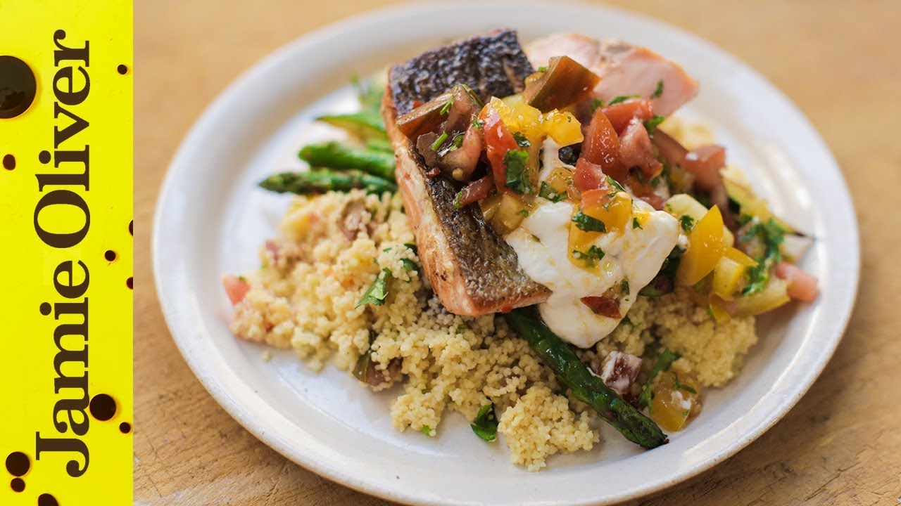 Salmon Fish Cake Recipe Jamie Oliver: Pan-Fried Salmon With Tomato Couscous
