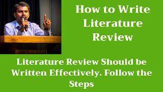 How to Write Literature Review | Related Work | Research Paper | M Milton Joe