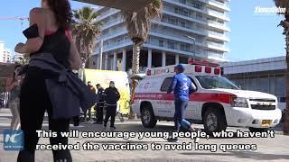 Izraelskie miasto oferuje bezpłatne napoje, aby zachęcić młodych ludzi do szczepień przeciwko COVID-19