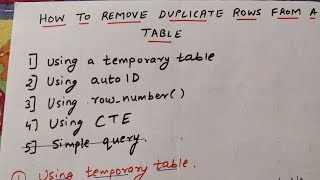 DELETE DUPLICATE ROWS FROM A TABLE IN SQL    4 ways