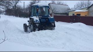 Уборка снега Т-40 АМ самодельной лопатой. Очень много снега!