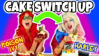 CAKE SWITCH UP CHALLENGE! HARLEY QUINN VS POISON IVY. (Totally TV)