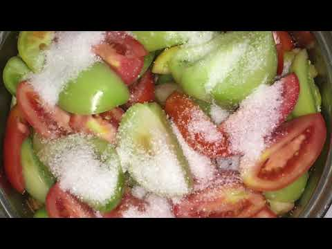 Салат из зелёных помидор без уксуса.Заготовки на зиму