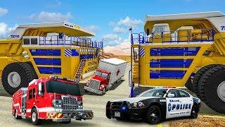 Бешеный БЕЛАЗ 75710 против БТР 80 грузовика и полиции| Игровой детский мультик про машинки