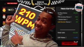 Fastest typer on Nitro type 210 WPM