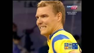 Table Tennis World Champ 2005 Karlsson - He Zhiwen