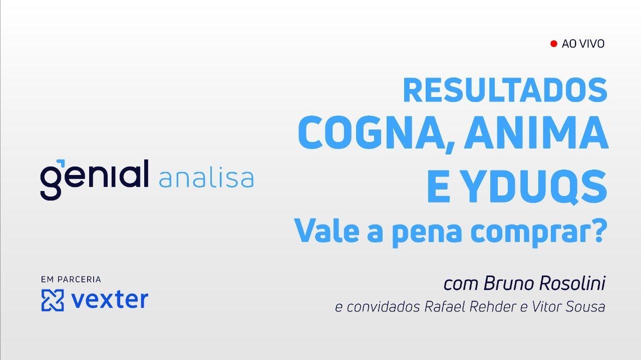 Thumbnail do vídeo: Resultados COGNA, ANIMA e YDUQS – Vale a pena comprar? – Podcast Genial Analisa