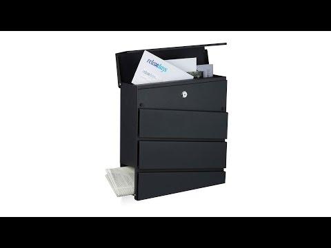 Design Briefkasten mit Zeitungsfach Schwarz