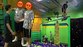 CRAZY TRAMPOLINE PARK DARES! (THEY WERE PISSED)