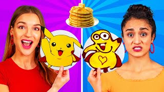 PANCAKE ART CHALLENGE! How To Make Minions Spongebob Emojis out of DIY Pancakes in 24 Hours!