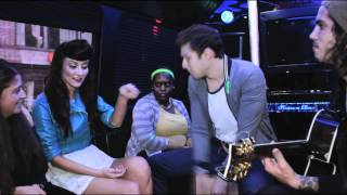 "Karmin perform ""Look at Me Now"" on the POPDUST Party Bus"